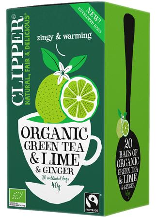 Herbata zielona ekologiczna z limonką i imbirem 40g (20 x 2g) - Clipper