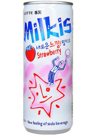 Milkis, mleczny napój gazowany o smaku truskawkowym z witaminami 250ml - LOTTE